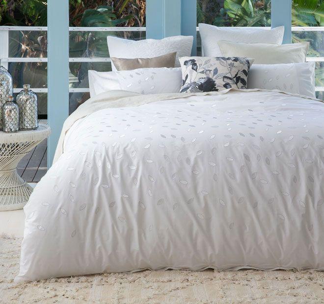 Kas White Bailey Quilt Cover Set Range White