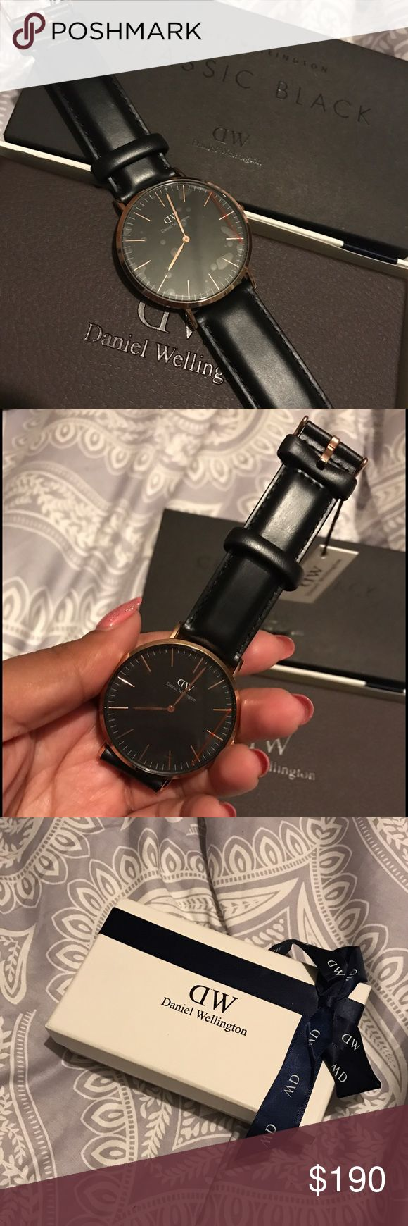 Daniel Wellington Rose Gold Classic Black Watch Daniel Wellington Rose Gold Classic Black Watch. NEVER WORN, brand new with tags. As seen on Kylie Jenner (last pic). Watch Face Size 40mm, rose gold finish, black leather band. I like it, but decided it was too big for my wrist. No trades, please use the offer button if you want to negotiate the price. Thank you ☺️ Daniel Wellington Accessories Watches