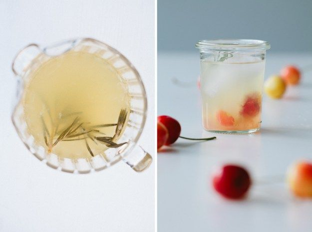 Rosemary Lemonade with cherries - Not Without Salt