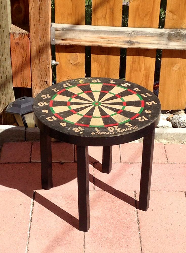 High Quality Up Cycle Vintage Dartboard End Table