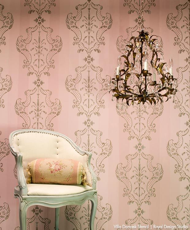 How to Stencil DIY Tutorial + VIDEO - Painting Damask Pattern on Pink Ombre Painted Striped Wall - Elegant Italian Wall Decor and Classic Stencils