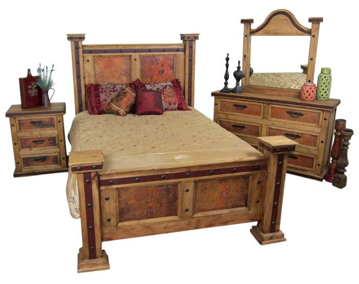 Pounded Copper Rustic Bedroom Set