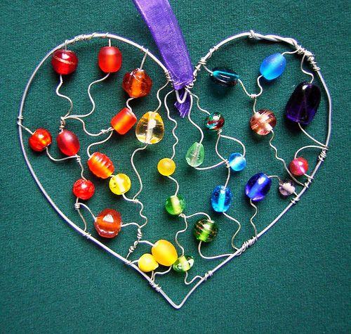 Big-Hearted Rainbow - a beaded suncatcher *sold*