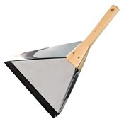 Plastic-free stainless steel dust pan with wooden handle