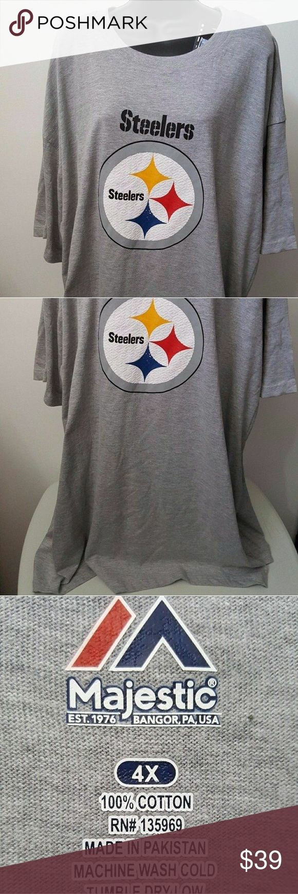 Majestic Pittsburgh Steelers T-shirt 4X This item is new with tags. Material is 100% cotton. Measurements from pit to pit is 31 inches. The length is 36 inches. Majestic Shirts Tees - Short Sleeve