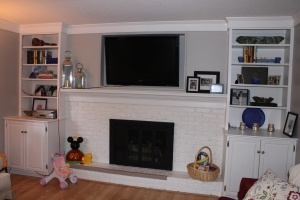 white brick fireplace DIY