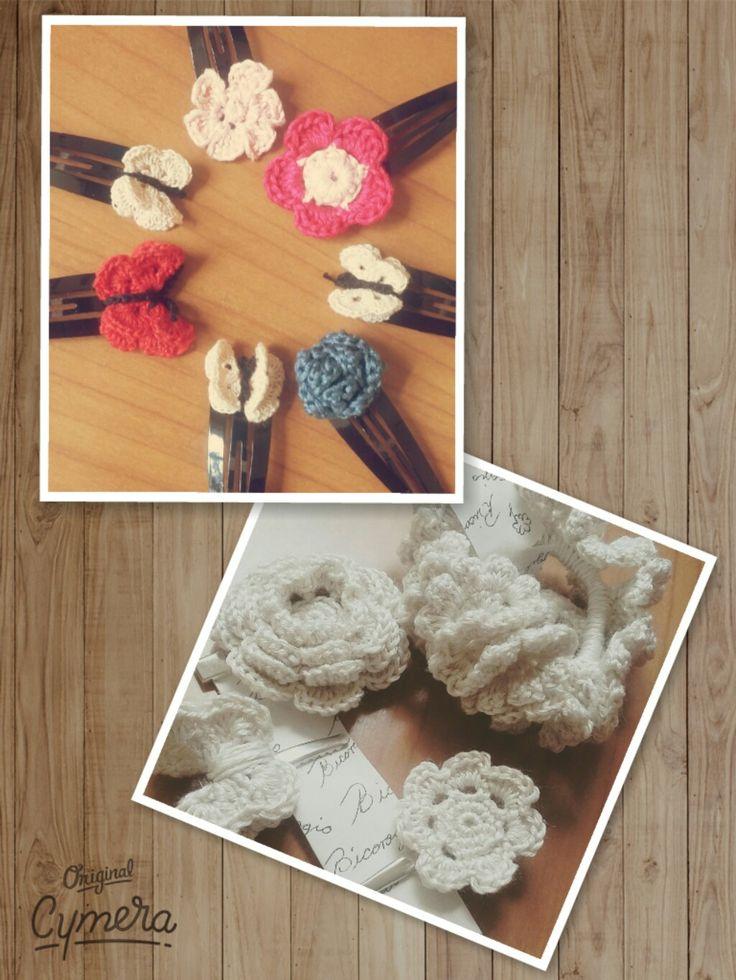 Mariposas y flores para el cabello a crochet