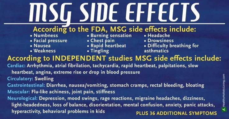 40 alternative names for MSG and other food additives/ingredients it can be hiding in. Also, MSG Side Effects. Drew's mom is allergic to MSG and sodium nitrates and Drew is starting to exhibit similar symptoms.