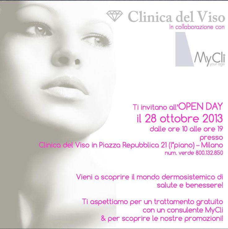 SAVE THE DATE!  Il 28 #Ottobre Open Day alla #Clinica del Viso di Milano. Vieni a scoprire il mondo dermosistemico di #salute e #benessere. Ti aspettiamo per un #trattamento #gratuito con un consulente MyCli & per scoprire le nostre #promozioni!