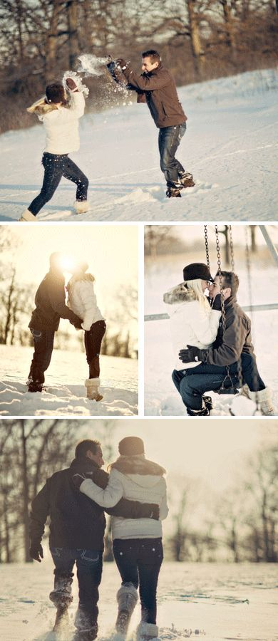 Winter engagement photo ideas. Snowball fight is a must