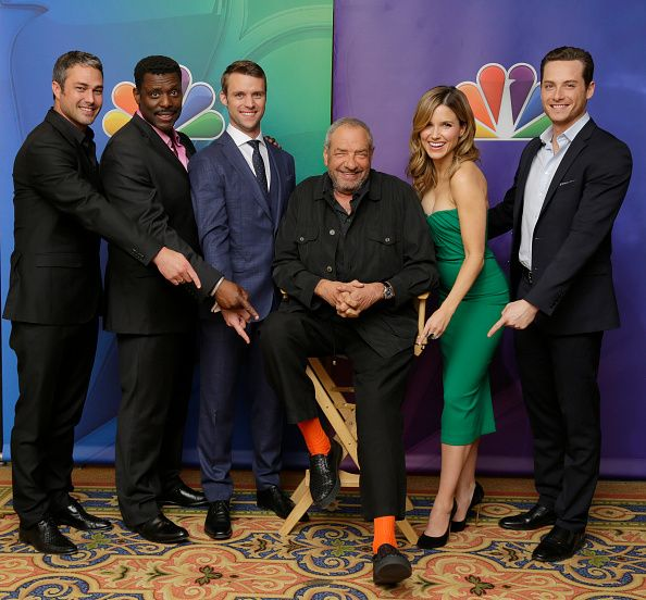 EVENTS NBCUniversal Press Tour January 2015 'Chicago Fire/Chicago PD' Pictured Taylor Kinney Eamonn Walker Jesse Spencer Dick Wolf Executive Producer...