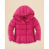Evalina has this jacket, and it is one of thee coziest jackets EVER, and best of all, its pink. (Her Favorite Color) It gets better, I got it for a better deal than Bloomingdales has. -- Ralph Lauren Childrenswear Girls' Down Coat - Sizes 2-6X