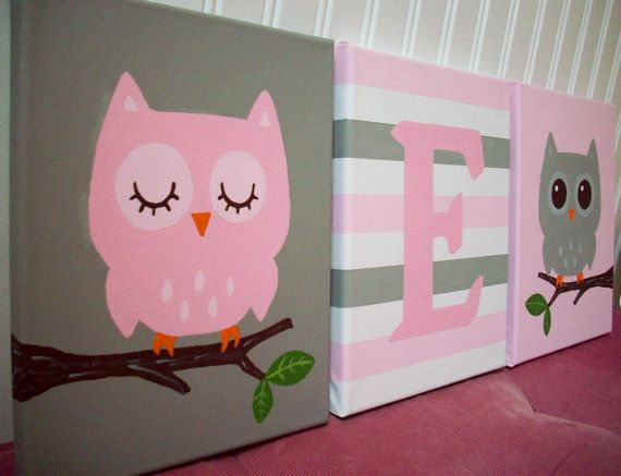 Owls Nursery Wall Decor Pink and Gray Grey by cathyscraftycovers, $60.00