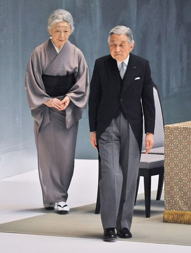 Japan's Emperor Akihito and Empress Michiko attend the memorial service for the war dead of World War II marking the 68th anniversary in Tokyo, Japan on 15 Aug 2013
