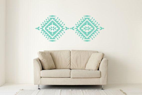 Wall Decal Geometric Navajo Native American Indian Southwestern Trendy Fashion Pattern