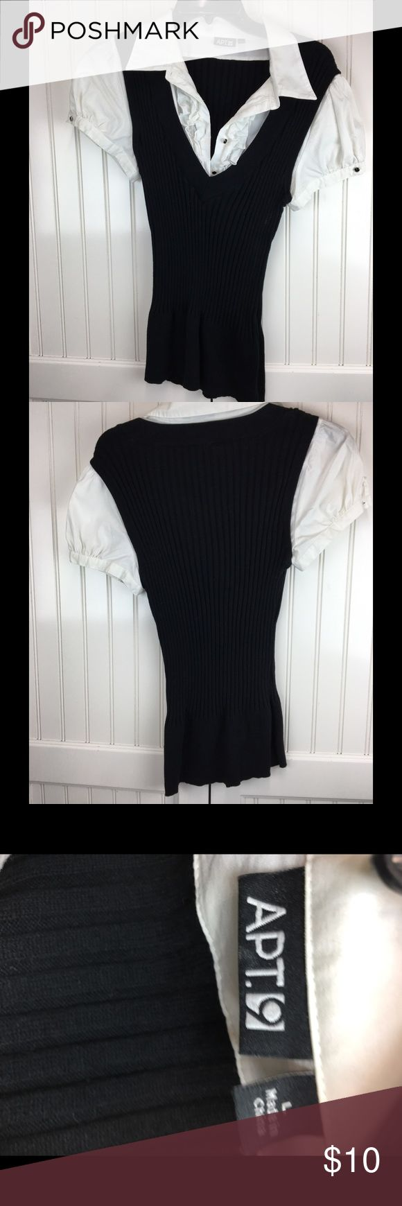 APT. 9 Black and White Top Shirt is in good condition. Apt. 9 Tops Tees - Short Sleeve
