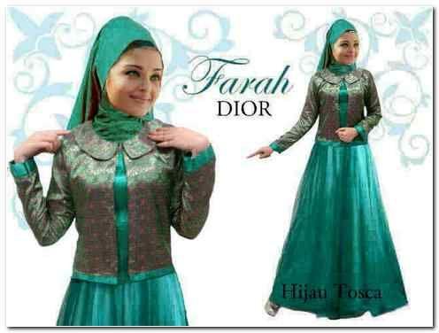 OHG141 Farah Dior Hijau Tosca Long Dress Satin + Cardi Songket India (Bunglon) + Pashmina Satin
