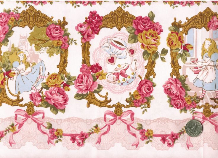 TWO YARDS Japanese Cotton Fabric Lolita Tokyo It Girl Wonderland Alice Tea Border Flowers Ribbon Pink. $70.00, via Etsy.