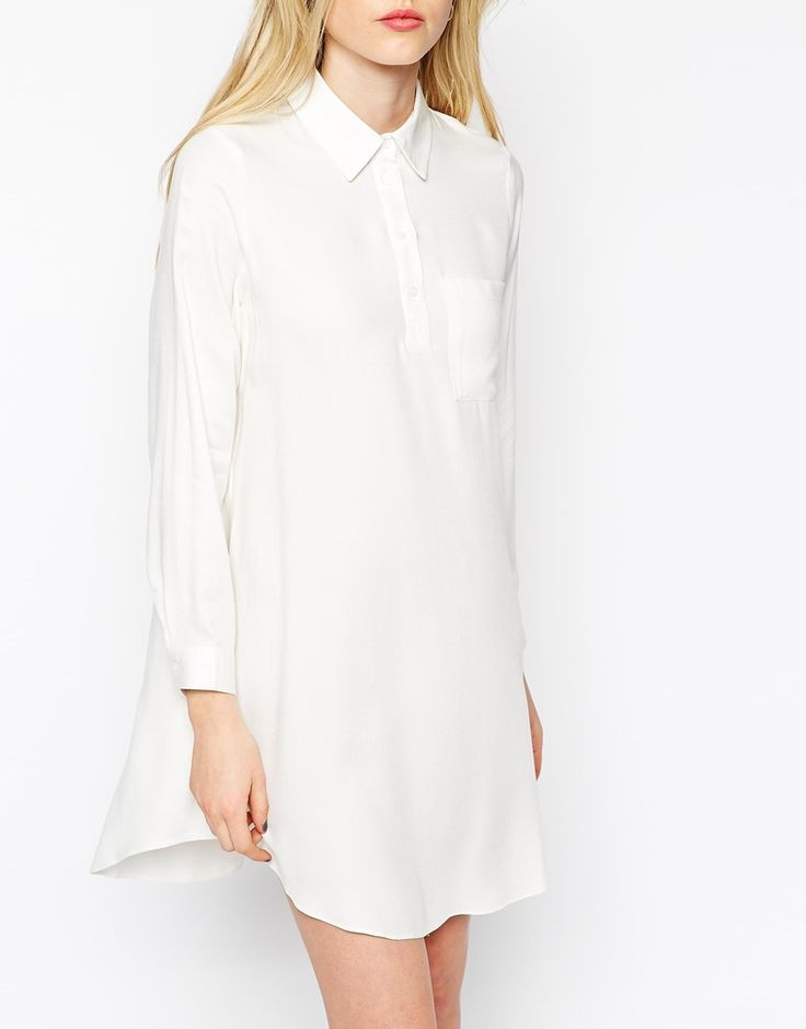 Image 3 ofASOS PETITE Swing Shirt Dress with Long Sleeve