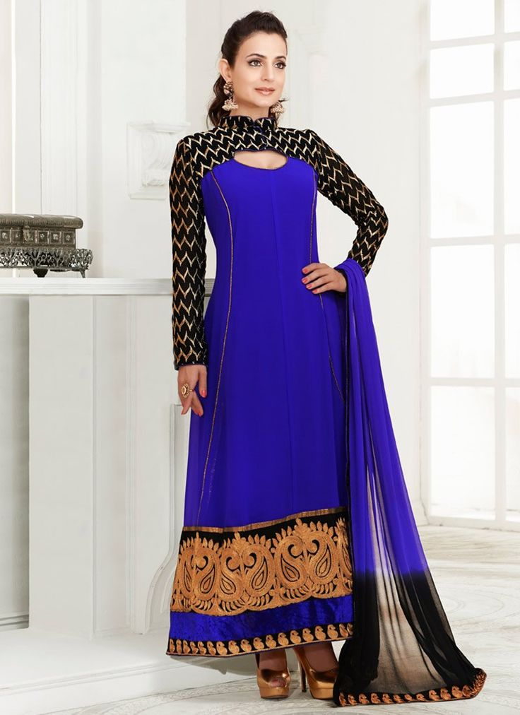 Blue ameeshapatel floor length anarkali suit bollywood for Floor length kurti