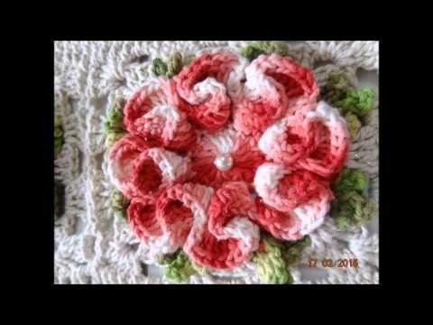 flor em croch para aplicaes em tapetes 4 youtube