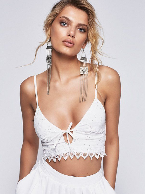 FP X Sonnet Bra | Eyelet bralette featuring a plunging neckline with an adjustable tie closure. Crochet scalloped trim with a smocked elastic band in back and adjustable straps for an easy fit.