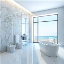 Calacatta Gold White Marble Cut to Size Tile Wall Cladding Panel Covering for Bathroom Design Modern Style