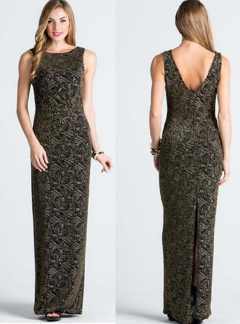 BG10051 sleeveless easy stretch fit with V back and slit. Black and subtle gold. $199 to purchase. Available for hire too.http://bridalandball.co.nz/formal-gowns/ball-gowns/