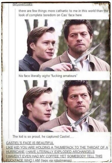 Supernatural. Castiel's face // I'm an angel, you ass! /// The underlined text at the bottom!! XD