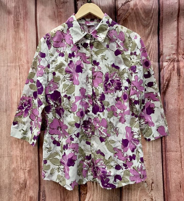 Womans floral blouse flower Top Shirt by Damart collared plus size 16 summer