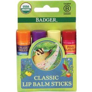 Badger Classic Lip Balm, Green Box Of 4