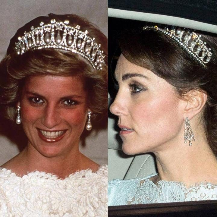 On November 8, the Duchess was seen arriving at Buckingham Palace for a diplomatic reception sporting a tiara owned by the late Princess Diana. The 'lover's knot tiara' was given to Diana as a wedding gift in 1981, and is made from diamonds and encrusted pearls. It is only the fourth time that the Duchess has worn a tiara since marrying into the Royal Family; it is not known if she has been given the tiara or simply borrowed it
