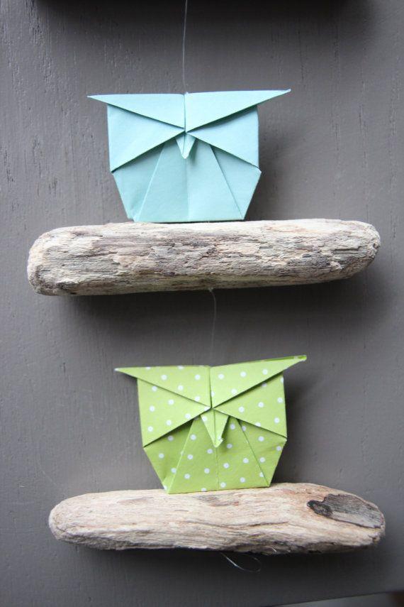 Mobile bois flott origami hibou chiyogami par for Bois flotte mobile