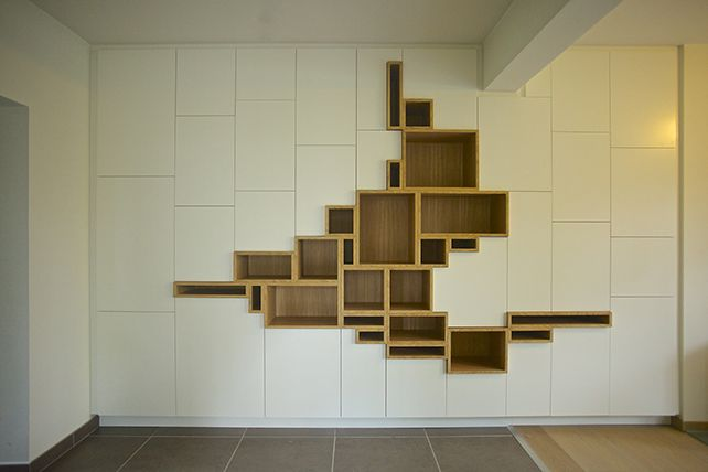 This is the most amazing piece of bespoke fitted furniture I have yet seen, I love it to bits, the balance in the random squares is perfect and the shape is just beautiful. I love the contrast between white painted and wood. TT Filip Janssens                                                                                                                                                     More