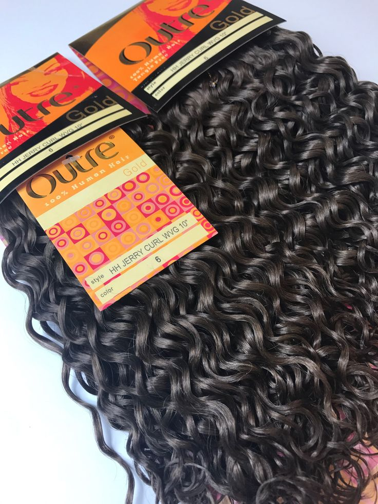 """2 PACKS of 10"""" OUTRE Gold JERRY CURL Weave 100% Human Hair Color #6 Brown"""