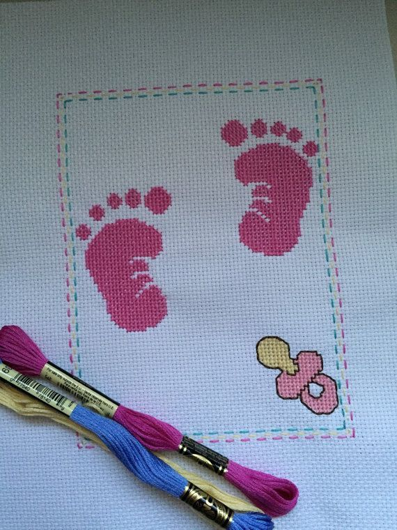 Completed Cross Stitch Pink Feet Baby Girl Birth Announcement Record 32$