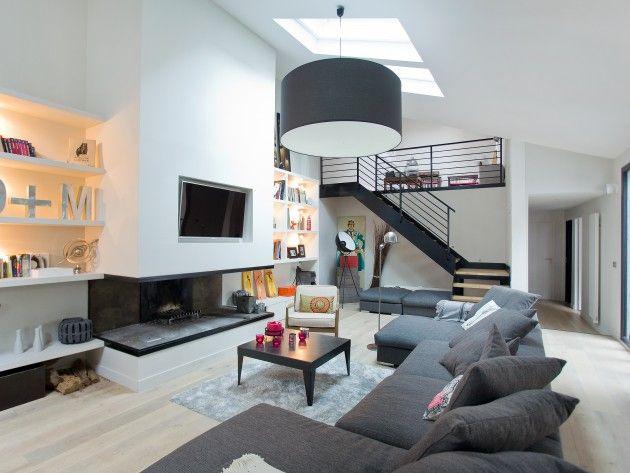 salon moderne gris avec tlvision murale - Salon Moderne Gris