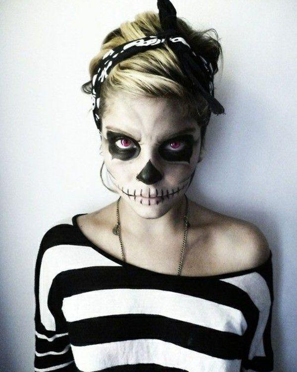 coole halloween schminktipps party make up schwarz weiß