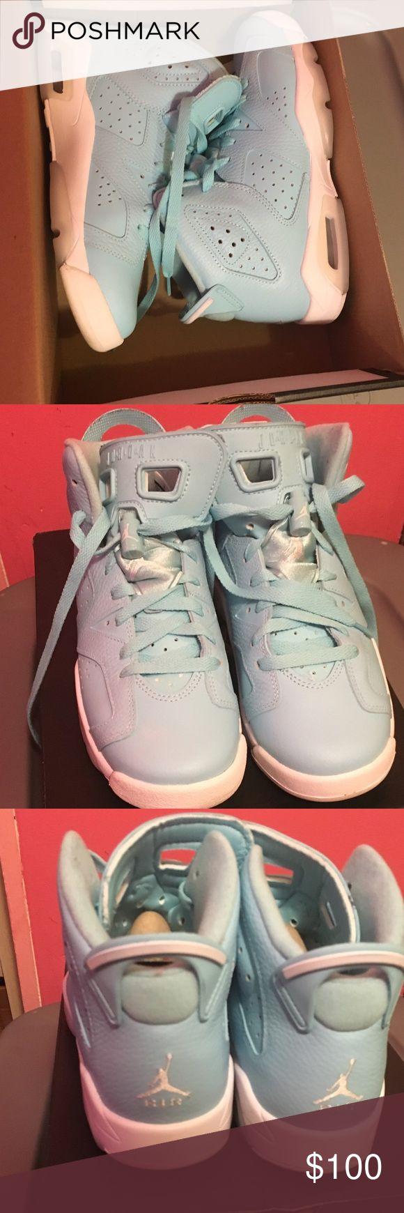 LIKE NEW Retro Jordan 6 Blue Sneakers LIKE NEW, worn ONCE for date night Retro Jordan 6 Blue Sneakers Air Jordan Shoes Sneakers