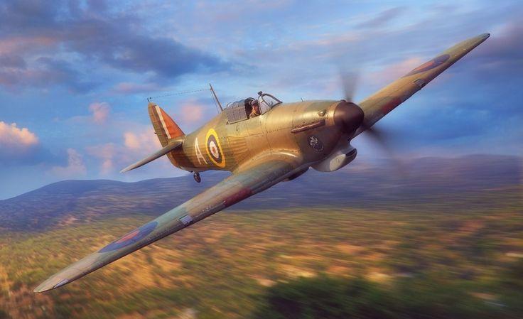 Hawker Hurricane Mk I Trop, digital art by Piotr Forkasiewicz