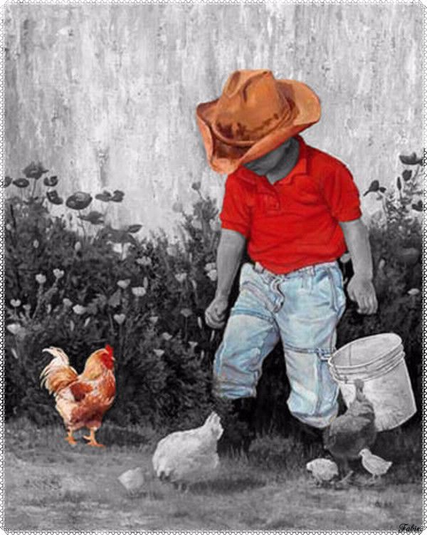 Little cowboy giving eating has its hens :)