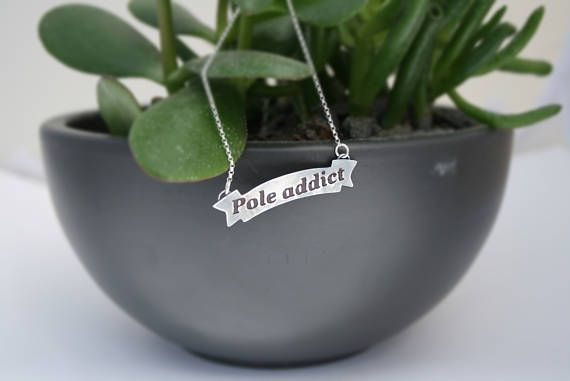 Pole Fitness Necklace/Statement Jewelry/Inspiring Motivating Women's Fitness Accessories/Strong Expressive Powerful Sterling Silver Necklace