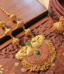 Buy GORGEOUS ANTIQUE  KEMP-GREEN PEACOCK SHORTHAAR SET necklace-set online