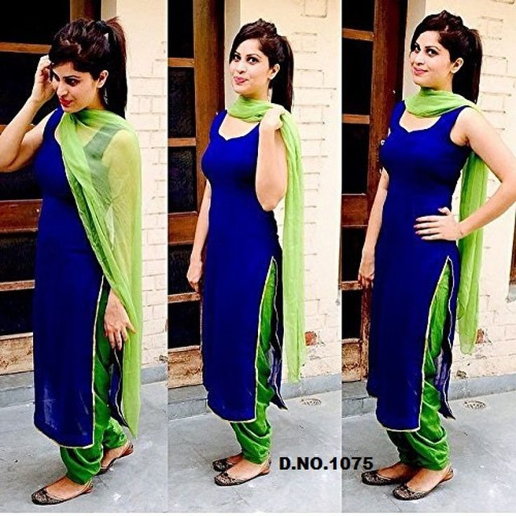 D R New Beautiful Blue And Green Georgette Designer Patiyala Suit