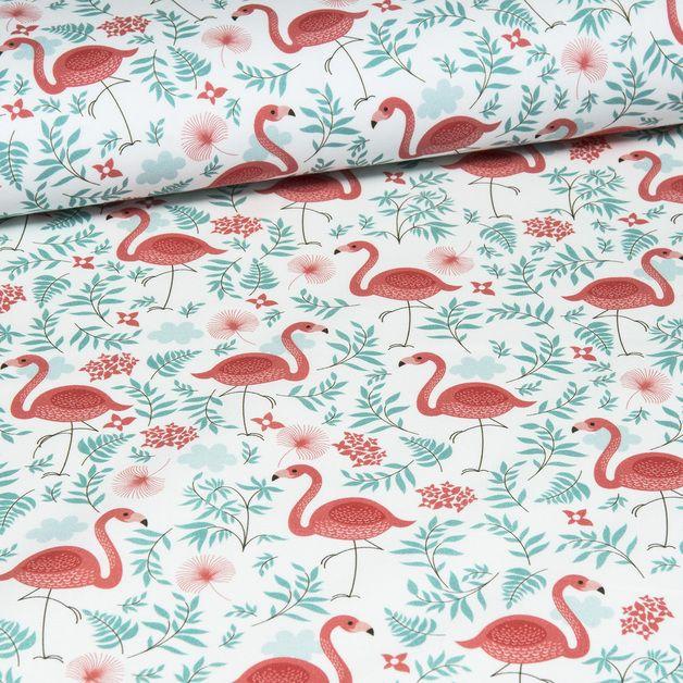 Bawełna 100% FLAMINGI - mcolors - Tkaniny wzorzyste