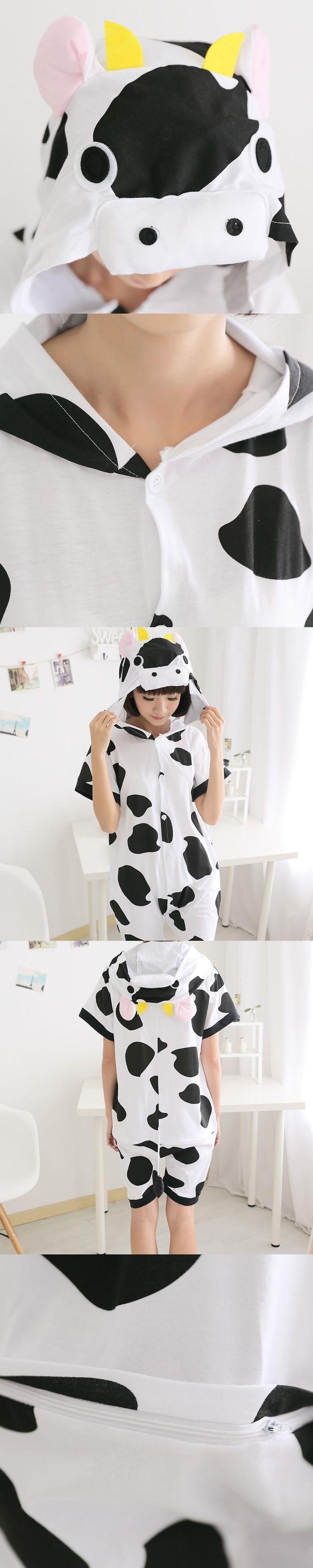 Kawaii  dairy cattle Anime Onesie Hoodie Pajamas Adult Summer Animal Pijamas Unisex Cotton Short Sleeve Animal pajamas