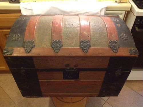 Antique Steamer Dome Top Trunk Steam Punk Treasure Chest