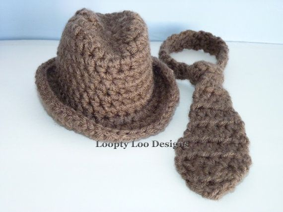 Boy Cowboy, Fedora Hat and Tie Set, Baby Boy, Newborn Photo Prop, Brown hat, Crochet hat - Sizes NEWBORN TO 12 MONTHS -more colors. $30.00, via Etsy.