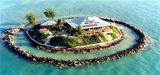 Known as East Sister Rock Island, the 2,500-square-foot Bahamian style home is located a quarter mile off the coast of Florida.