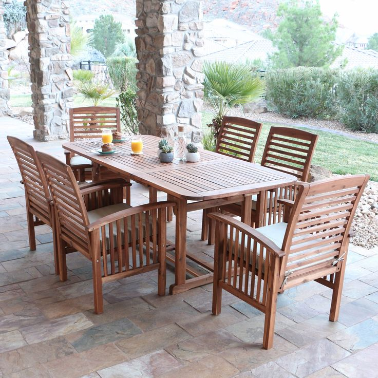 W. Trends 7-Pc. Acacia Wood Dining Set - Natural